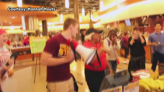 Arizona State University students at Barrett, Honors College in Tempe make a dream come true for dining hall worker Vickie Davis, taken on Thursday, Jan.21, 2016.