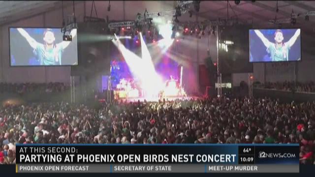 Partying At Phoenix Open Birds Nest Concert