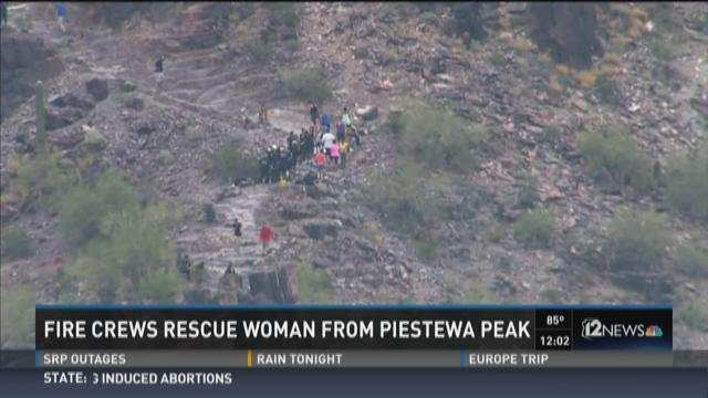 Fire crews rescue lady from Piestewa Peak