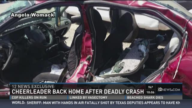 Cheerleader back home after deadly crash