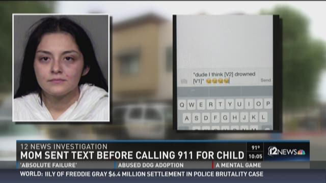 Peoria mom sent text before calling 911 after child drowns